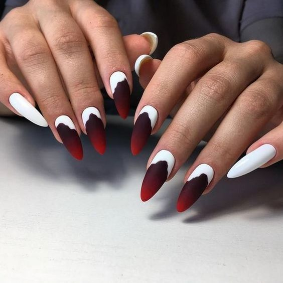 ефектен маникюр бяло и червено