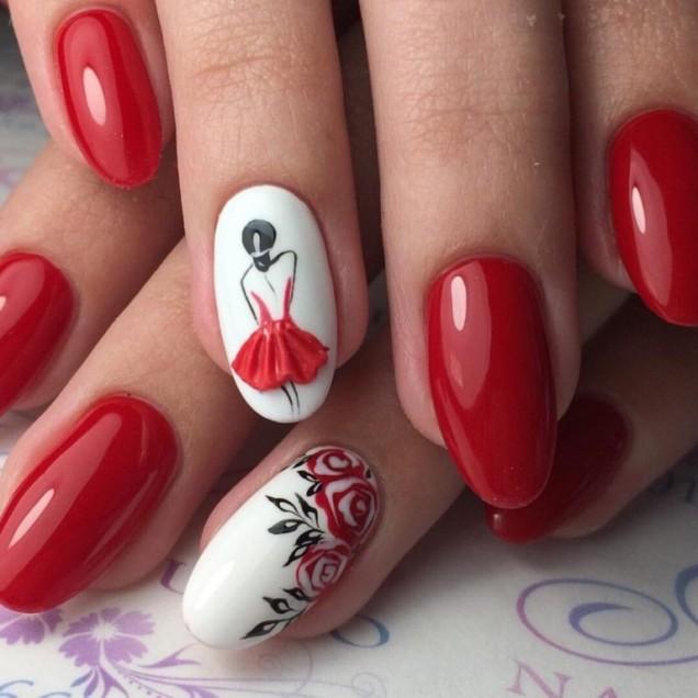 червен маникюр балерина