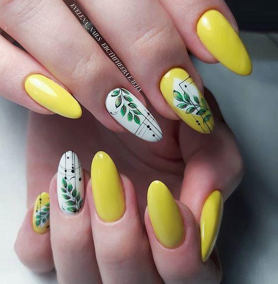 жълт маникюр пролет