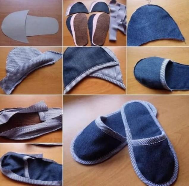 дънкови чехли