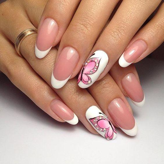 френски маникюр розова пеперуда