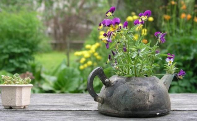 цветарник от стария чайник