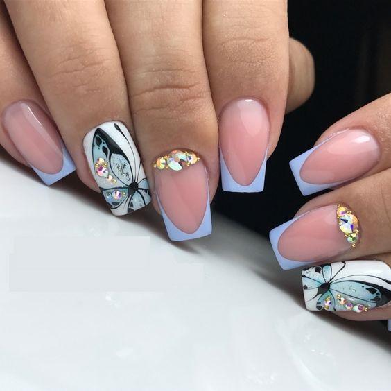 френч с пеперуди и кристали