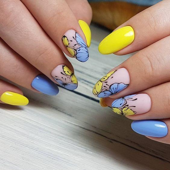 флорален маникюр синьо и жълто