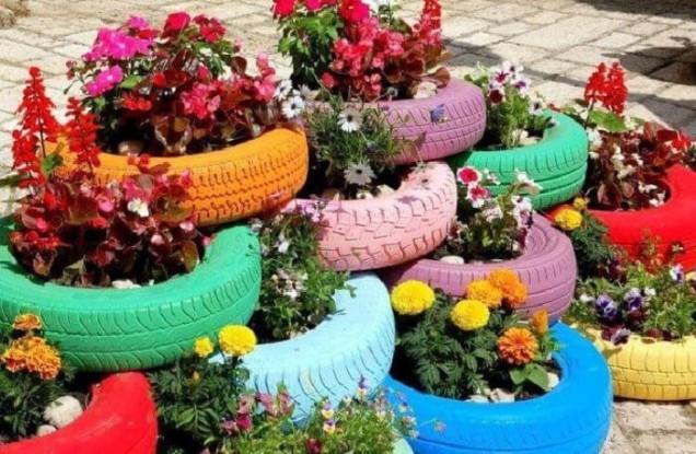 цветни лехи от стари гуми