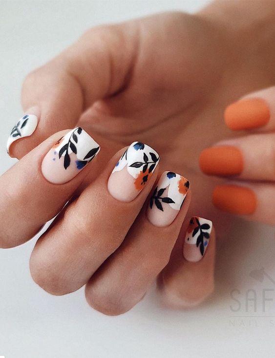маникюр на листа къси нокти