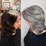 сребриста коса прическа