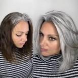 красив сребрист цвят на косата