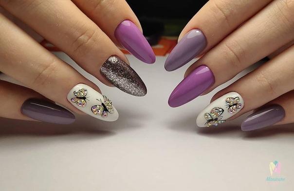 пеперуден маникюр в лилаво