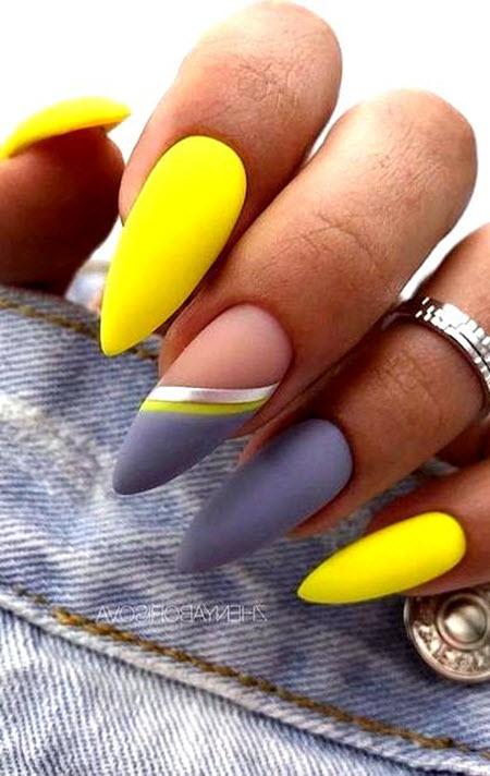 маникюр жълто и сиво