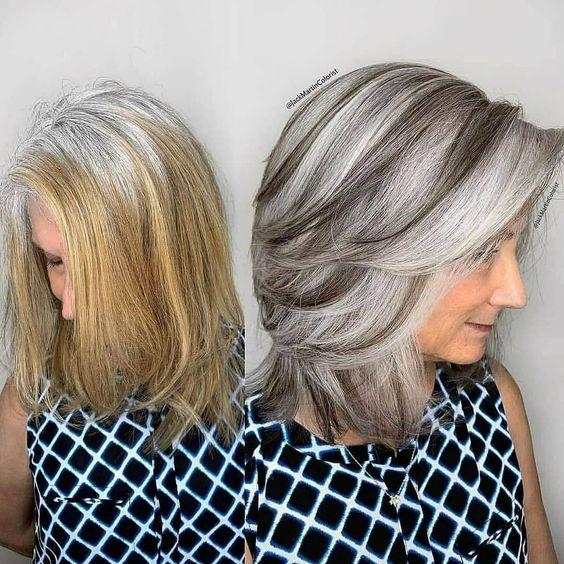 сребриста коса на пластове