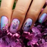лилаво омбре с цветя и коте