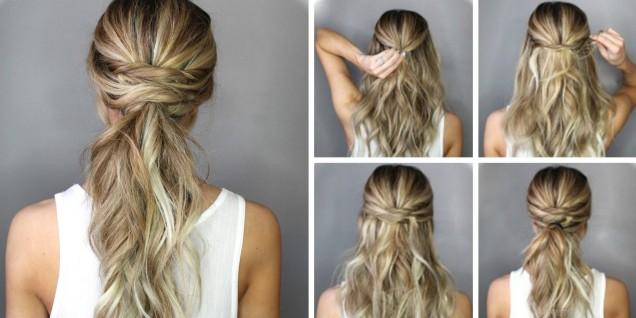 ефектна прическа тънка коса