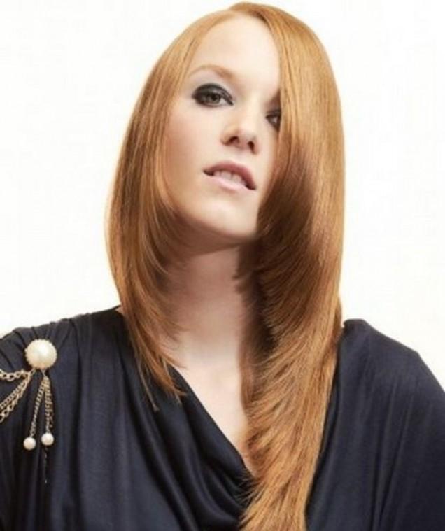 дълга коса асиметрична прическа