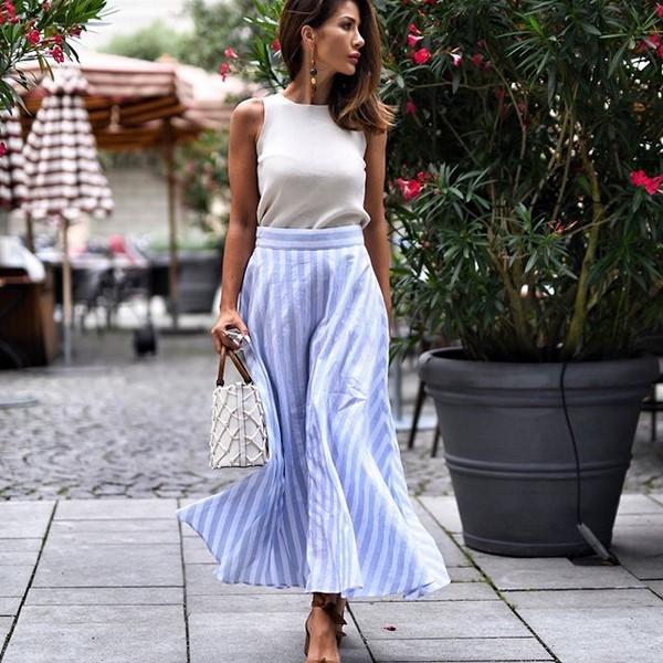 синя лятна дълга пола