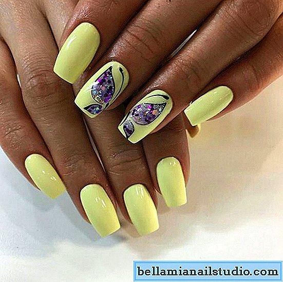 жълт маникюр с пеперуди