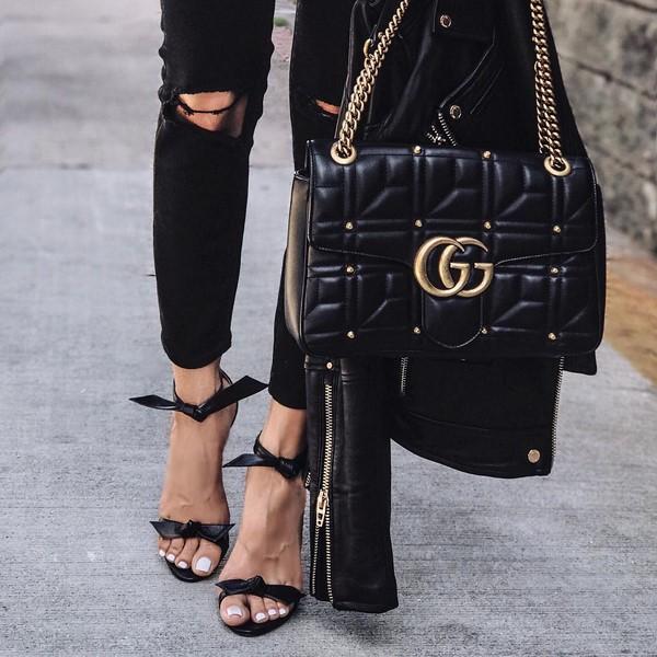 черна гучи чанта