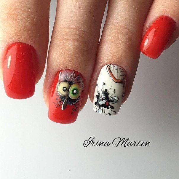 червен лак къси нокти