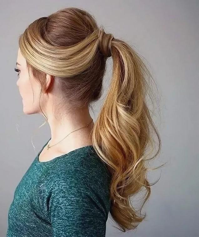 обемна опашка тънка коса