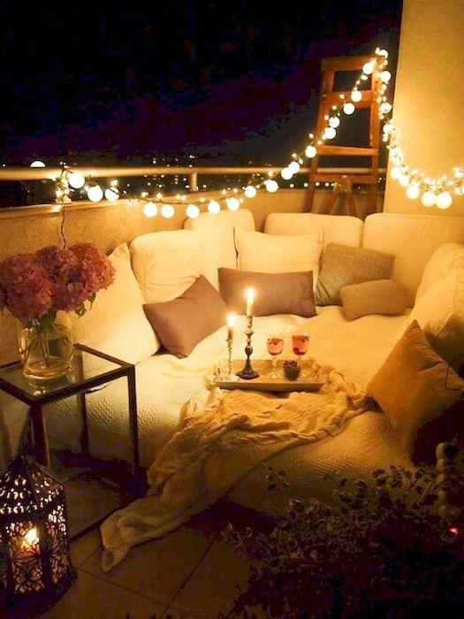 балкон романтични светлини