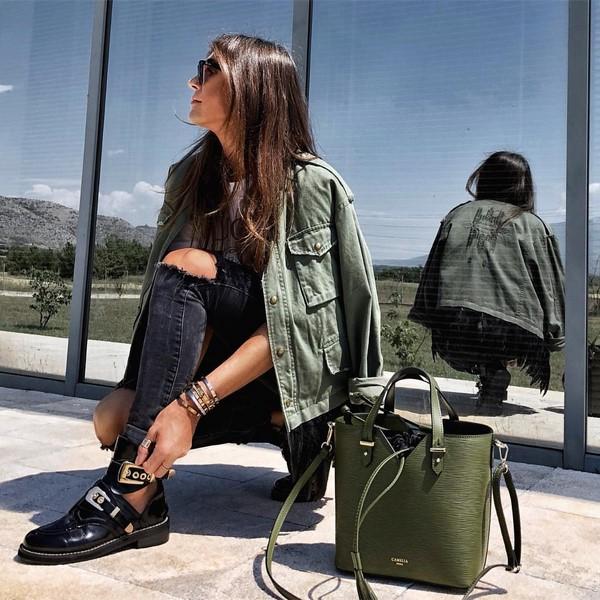 зелена голяма чанта