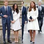 Меган и Кейт бяло палто