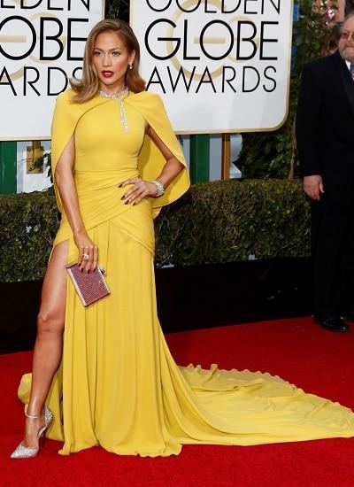 Дженифър Лопес жълта рокля