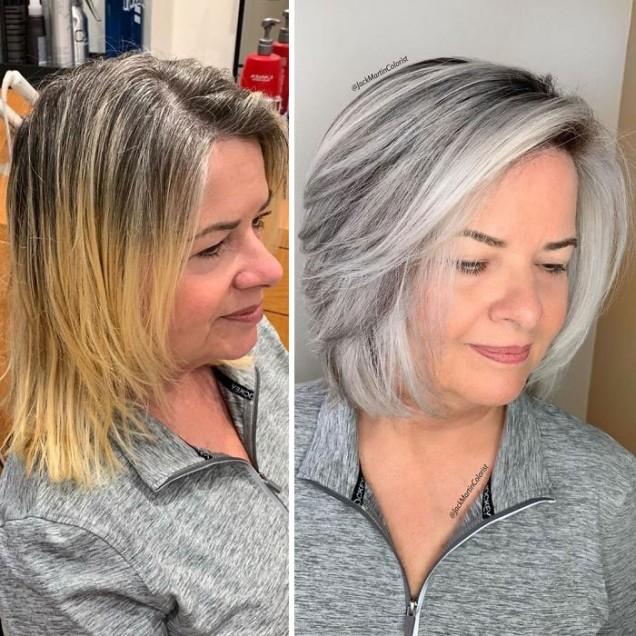 прическа в сив цвят