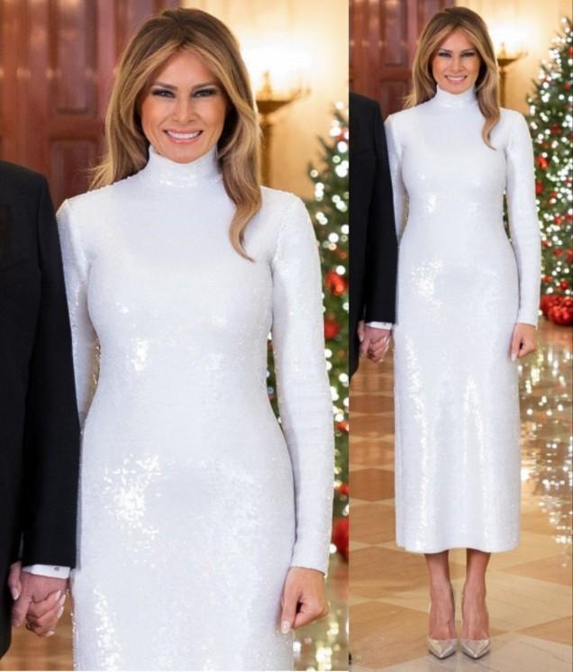 Мелания секси бяла рокля