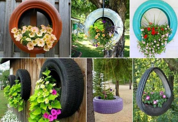 цветарник от стари гуми