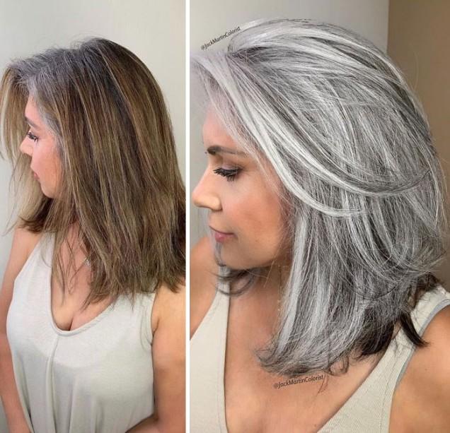 сребриста коса на тъмни кичури