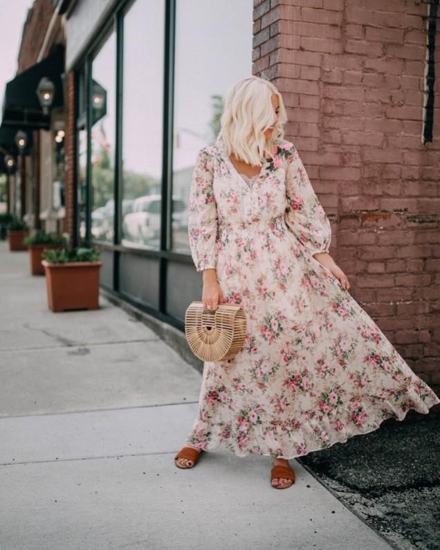 лятна рокля с флорален принт