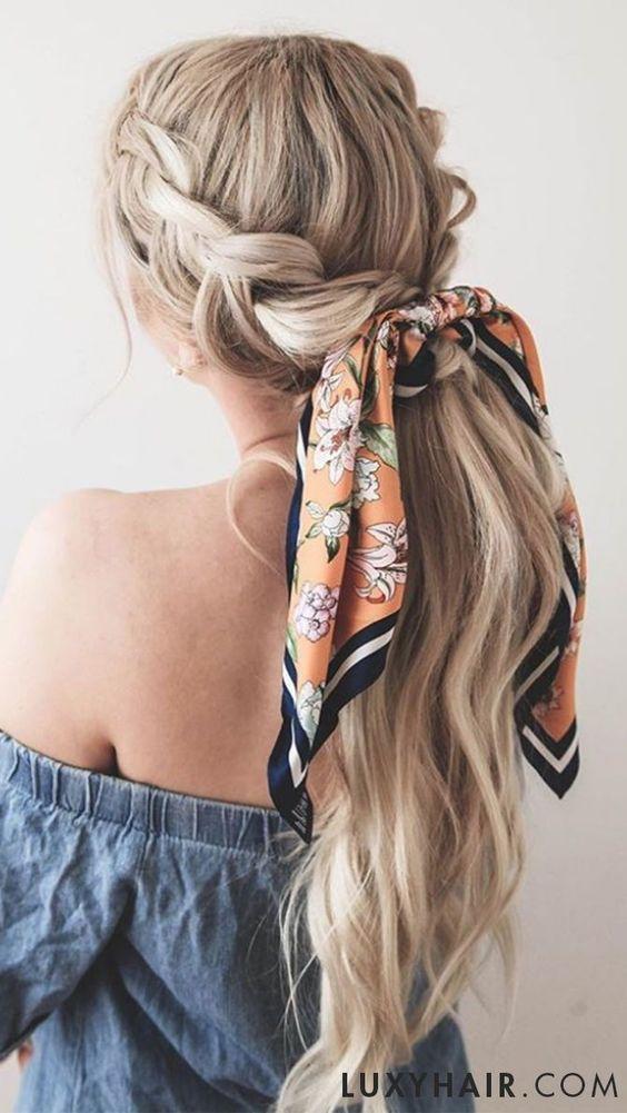 прическа с шал за лятото