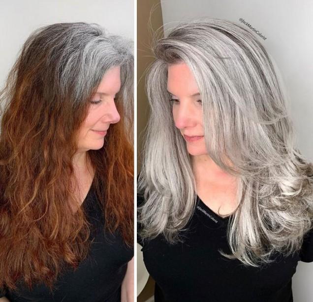 красива сива коса