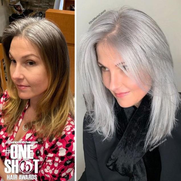 сребристо сива фризура