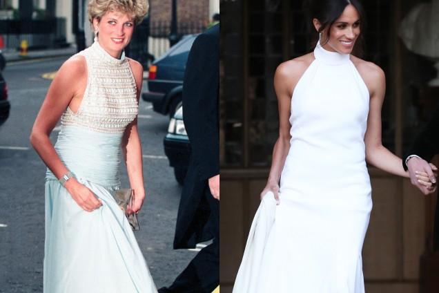 Даяна и Меган Маркъл бяла рокля