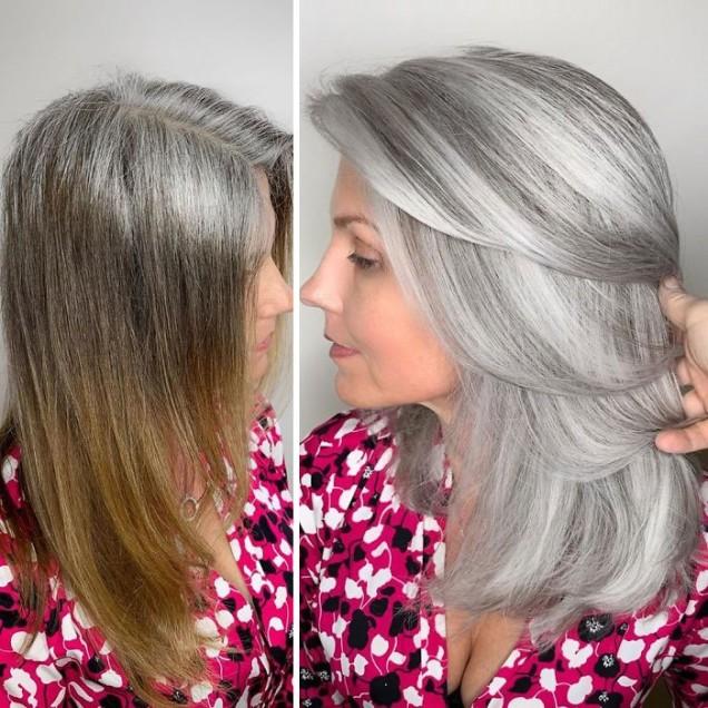 сребриста коса с кичури