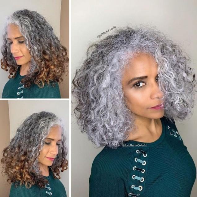 къдрава коса сребристо сиво