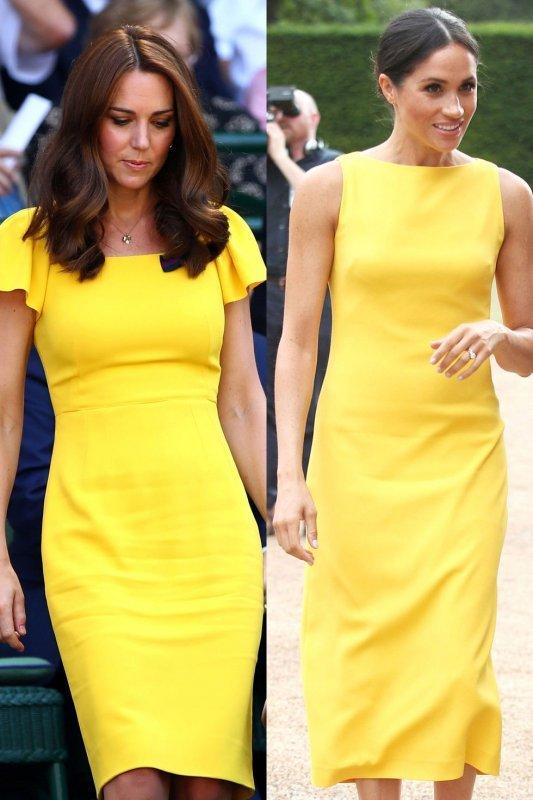Кейт и Меган жълта рокля