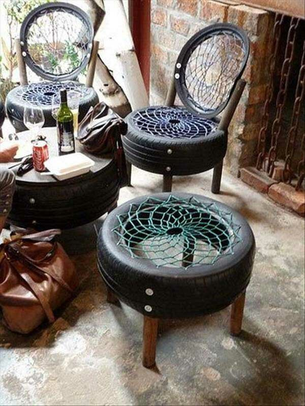 мебели от стари гуми