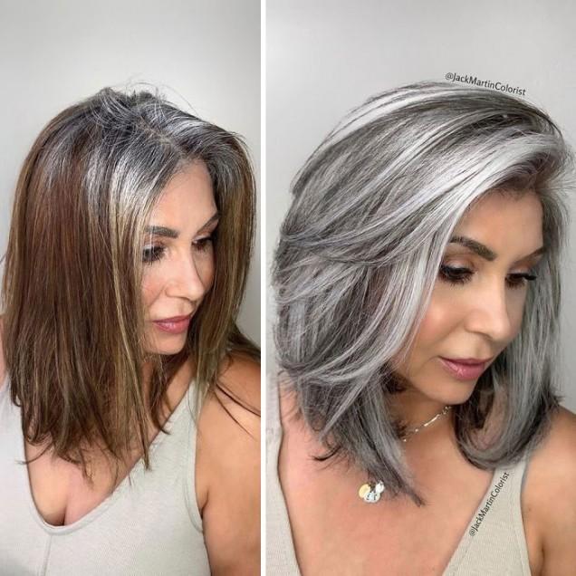 сребриста фризура на кичури