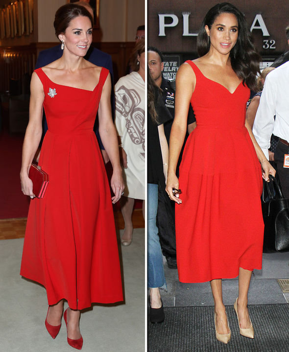 Меган и Кейт червена рокля