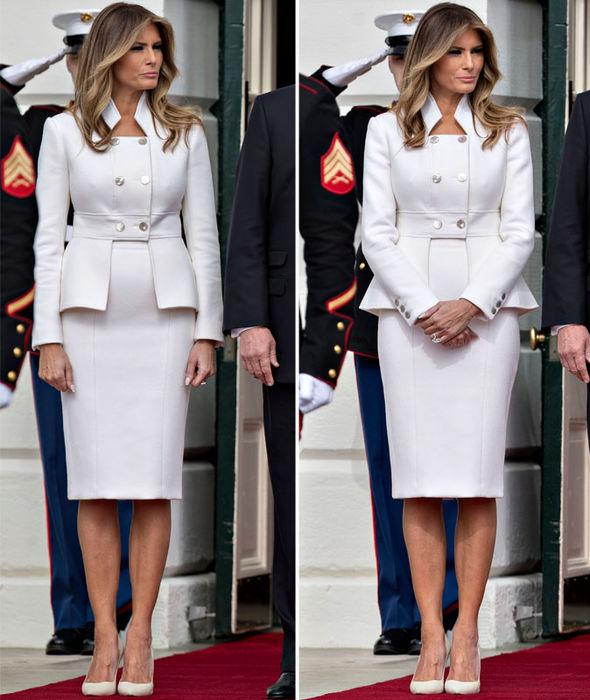 Мелания Тръмп бял костюм