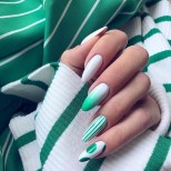 летен маникюр зелено и бяло