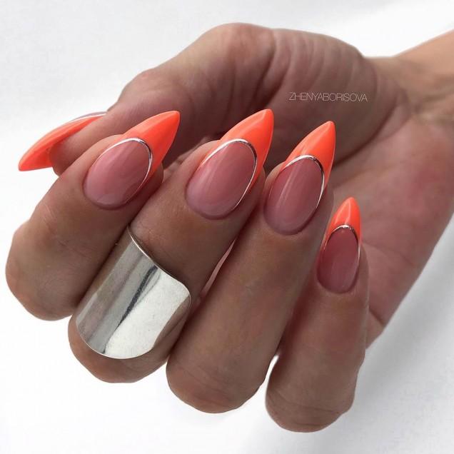 оранжев френч дълги нокти