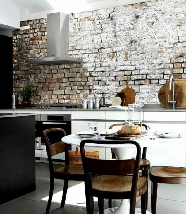 гръб на кухня тухли