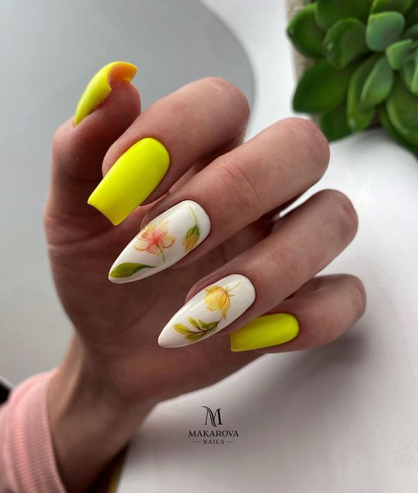 топъл маникюр с жълто
