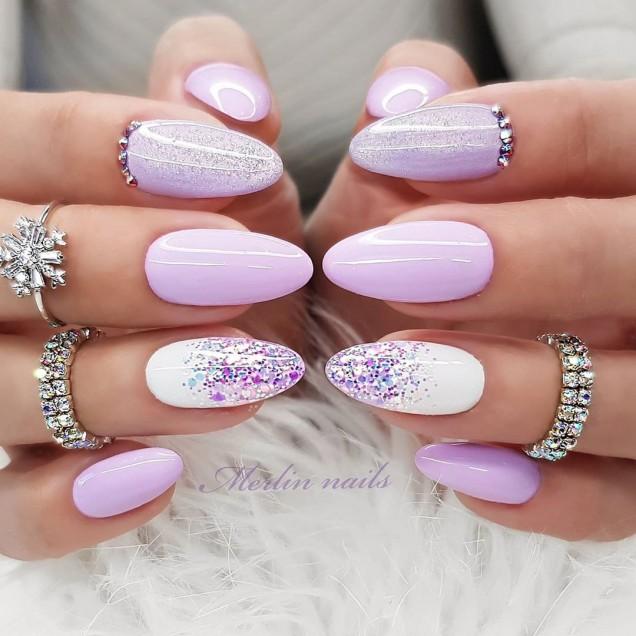 розово и лилаво маникюр