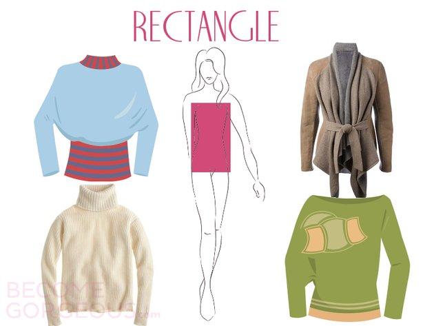 Пуловери за фигура като правоъгълник