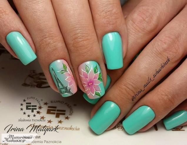 зелено с цветя